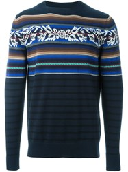 Sacai Flower Intarsia Sweater Blue