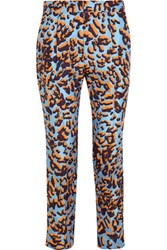 Msgm Leopard Print Silk Twill Straight Leg Pants Blue