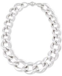 Signature Silver Diamond Accent Large Oval Link Collar Necklace In Sterling Over Resin Core Silver
