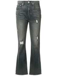 Adaptation Ripped Cropped Bootcut Jeans Black