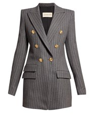 Alexandre Vauthier Double Breasted Pinstriped Blazer Grey Multi