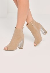 Missguided Nude Peep Toe Transparent Faux Suede Heeled Boots