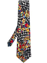Versace Vintage Abstract Checkered Floral Tie Multicolour