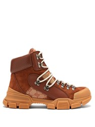 Gucci Flashtrek Leather High Top Trainers Brown