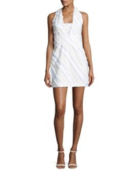 Milly Diagonal Striped Halter Minidress White