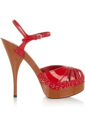 Miu Miu Patent Leather Platform Sandals Red