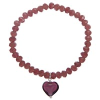 Martick Murano Glass Heart Bracelet Blackberry