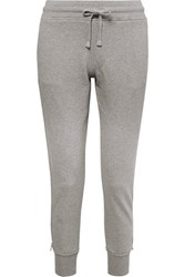 Rta Augustine Zip Detailed Cotton Terry Track Pants Light Gray