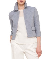 Akris Punto Invert Back Pleat Boxy Jacket Bleached Denim