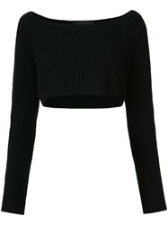 Baja East Long Sleeve Cropped Rib Knit Sweater Black