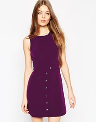 Asos Clean A Line Dress With Poppers Purple
