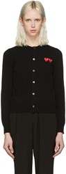 Comme Des Garcons Play Black Wool Double Heart Cardigan