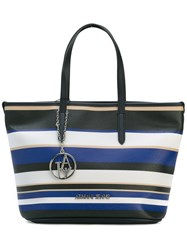 Armani Jeans Striped Tote Women Pvc One Size Blue