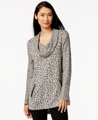 Styleandco. Style And Co. Petite Leopard Print Faux Leather Pockets Tunic Only At Macy's