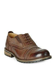 Steve Madden Spanner Leather Brogue Oxfords Brown
