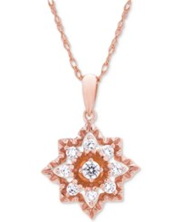 Wrapped In Love Diamond Openwork Star Pendant Necklace 1 3 Ct. T.W. 14K Rose Gold Created For Macy's
