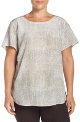 Eileen Fisher Plus Size Women's Ballet Neck Print Silk Top