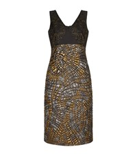 Alberta Ferretti Lace Jacquard Sleeveless Pencil Dress Female Multi