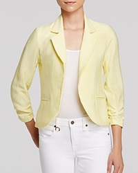 Aqua Blazer Crinkle Ruched Sleeve Lemon