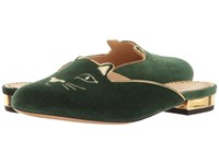 Charlotte Olympia Kitty Slipper Bottle Green Velvet Metallic Calfskin
