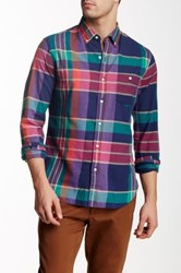 Bonobos Montauk Madras Plaid Long Sleeve Slim Fit Shirt Blue