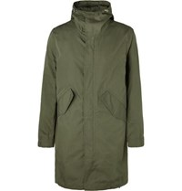 Bellerose Cotton And Nylon Blend Ripstop Hooded Jacket Green