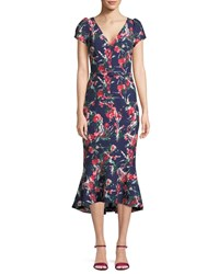 David Meister V Neck Floral Print Flutter Belted Dress Navy