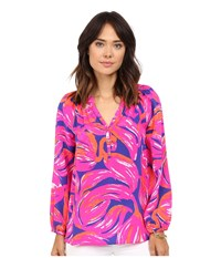 Lilly Pulitzer Elsa Top Bomber Blue Plume Bloom Small Women's Blouse Pink