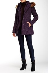 Jessica Simpson Quilted Jacket With Faux Fur Trimmed Hood Purple