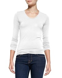 Majestic Soft Touch Long Sleeve V Neck Tee White