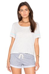 Monrow Athletic Stripe Cropped Tee Gray