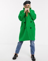 Lazy Oaf Double Breasted Wool Coat With Faux Fur Leopard Collar Green