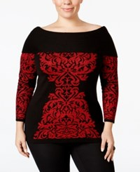 Inc International Concepts Plus Size Jacquard Tunic Only At Macy's Real Red