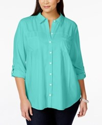 Styleandco. Style And Co. Plus Size Button Down Roll Tab Sleeve Blouse Only At Macy's Pacific Aqua