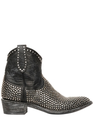 Mexicana 40Mm Studded Zip Up Leather Ankle Boots Black