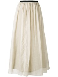 Pas De Calais Elasticated Waist Gathered Skirt Women Silk Cotton Cupro 36 Nude Neutrals
