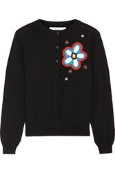 Moschino Embellished Appliqued Wool Cardigan Black