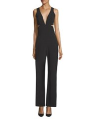 Laundry By Shelli Segal Plunging V Neck Peek A Boo Jumpsuit Black