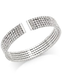Inc International Concepts Silver Tone Multi Crystal Cuff Bracelet Only At Macy's