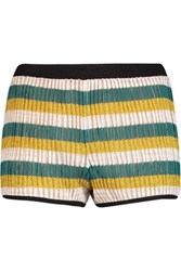 Missoni Striped Crochet Knit Shorts Gold