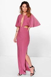 Boohoo Keyhole Detail Cape Maxi Dress Rose