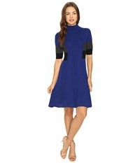Adrianna Papell Mock Neck Color Block Flare Sweater Dress Night Fever Multi Women's Dress Blue