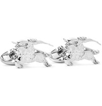 Burberry Engraved Silver Tone Cufflinks Silver