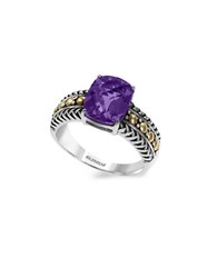 Effy 925 Cushion Amethyst 18K Yellow Gold And Sterling Silver Ring