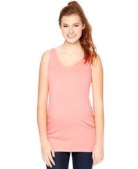 Motherhood Maternity Ruched Tank Top Sunkist Coral