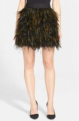 Alice Olivia 'Cina' Feather Skirt Black Army