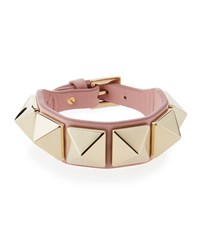Valentino Leather Rockstud Buckle Bracelet Blue Gray