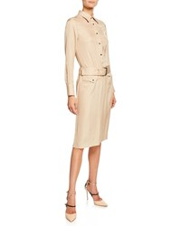 Tom Ford Long Sleeve Twill Button Front Shirtdress Beige