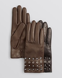 Bloomingdale's Studded Leather Gloves Brown