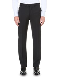 Emporio Armani Regular Fit Wool Trousers Black